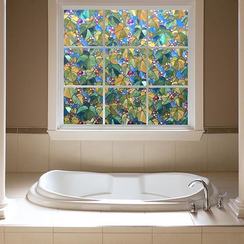Bathroom Window Privacy Film Lowes: Decorative Window Film - Grape Vine
