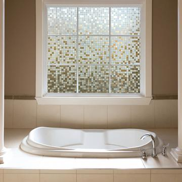 Decorative window film clear mosaic gila window film for Decorative windows for bathrooms